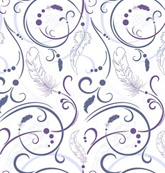Seamless floral pattern with feathers and leaves vector