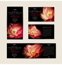 set black elegant cards with red poppies vector image