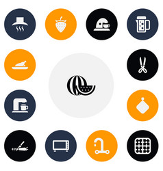 Set of 13 editable meal icons includes symbols vector