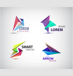 set of abstract 3d origami logos vector image