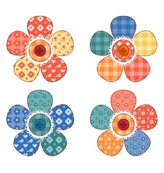 Set of four patchwork flower vector