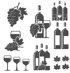 set wine signs badges and labels vector image