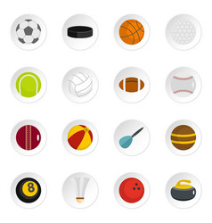 sport balls icons set in flat style vector image