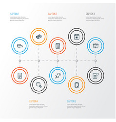 Stationery icons line style set with scotch vector