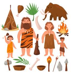 Stone age people prehistoric times cartoon vector