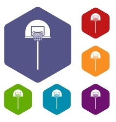Street basketball hoop icons set vector image