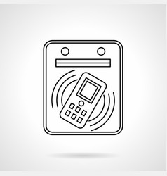 Subway payment by phone flat line icon vector