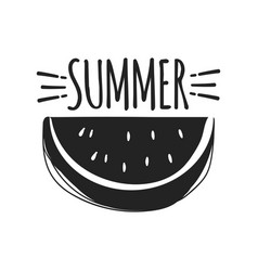 summer fun sticker watermelon badge hand drawn vector image