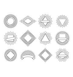 sunburst labels retro sun rays logos vintage vector image