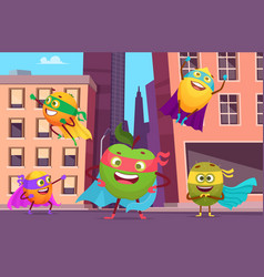 superheroes in city urban landscape with fruits vector image