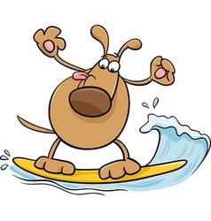 surfing dog cartoon vector image