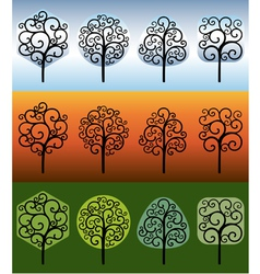 Swirly trees vector