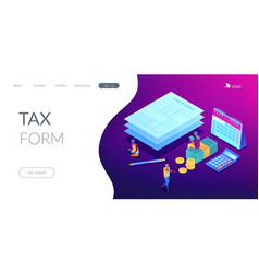 tax form isometric 3d landing page vector image