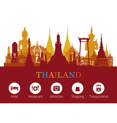 Thailand Landmark and Travel Icons vector