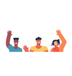 Three diverse friends waving hello isolated vector