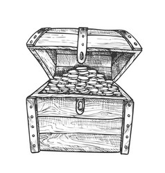 Treasure chest filled golden coins ink vector