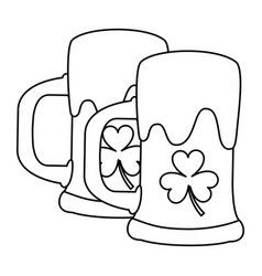 Two beer glass clover drink alcohol outline vector