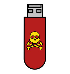 Usb memory with skull vector
