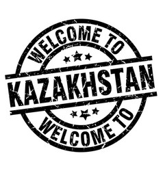 welcome to kazakhstan black stamp vector image