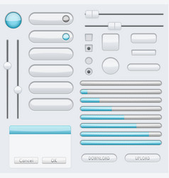 white blank buttons with blue tags web interface vector image