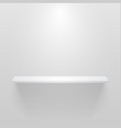white empty shelf on white wall mockup vector image