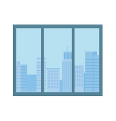 window urban city buildings view isolated design vector image