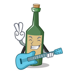 with guitar wine bottle character cartoon vector image