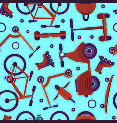 bright pattern with teenager bikes and scooters vector image vector image