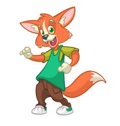 cartoon fox dancing vector image vector image