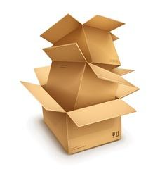 Empty open cardboard boxes vector image vector image