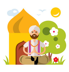 india yoga flat style colorful cartoon vector image