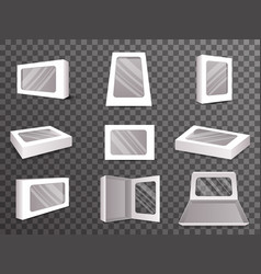 paper package boxes front top isometric open vector image