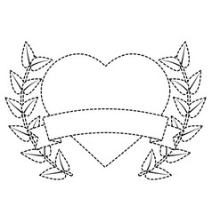 valentines day heart love romantic ribbon emblem vector image