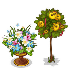 bouquet with butterflies and tree with bells vector image vector image