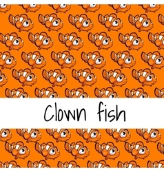 Card with fish on an orange background vector image vector image