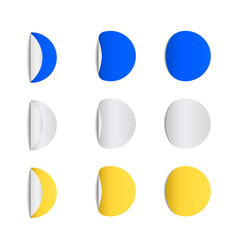 Round sticky papers with curved corners vector
