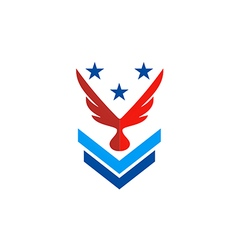 wing eagle star military logo vector image
