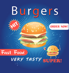 advertising poster with a delicious burger vector image vector image