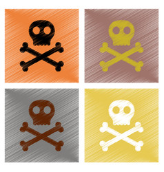 assembly flat shading style icons halloween skull vector image