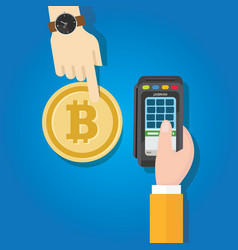 Bitcoin transaction payment method hand holding vector