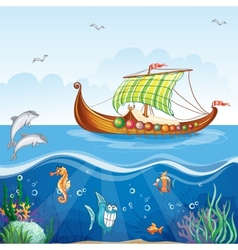 Cartoon image of the water world with merchant vector image vector image