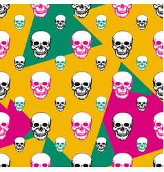 colorful skulls print skull seamless pattern hand vector image