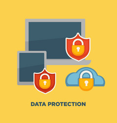 data protection folder lock on internet security vector image vector image