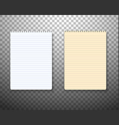 realistic paper notepad notebook set vector image