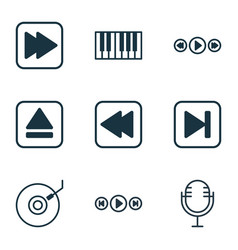 set of 9 music icons includes audio buttons vector image