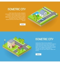 Set of Isometric City Web Banners vector image vector image