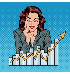Successful Businesswoman and Arrow Graph Pop Art vector image