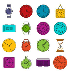 time and clock icons doodle set vector image vector image