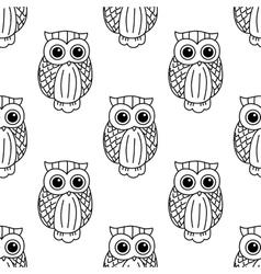 Vintage cute black owls seamless pattern vector image