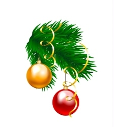 baubles and fir branch vector image